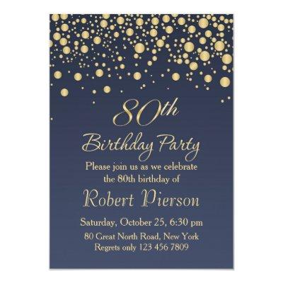 Golden confetti 80th Birthday Party Invitation Zazzlecom