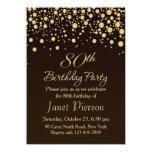Golden confetti 80th Birthday Party Invitation