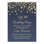 Golden Confetti 90th Birthday Party Invitation at Zazzle