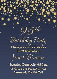 Golden Confetti 95th Birthday Party Invitation