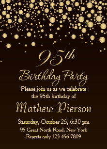 Golden Confetti 95th Birthday Party Invitation
