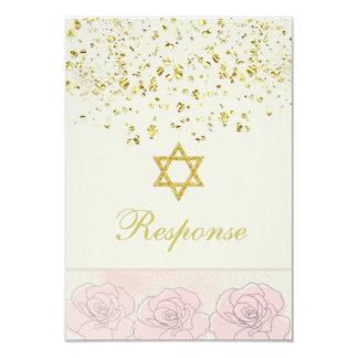Golden confetti Bat Mitzvah Reply Card