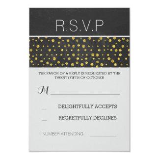 golden confetti dots chalkboard wedding RSVP 3.5x5 Paper Invitation Card