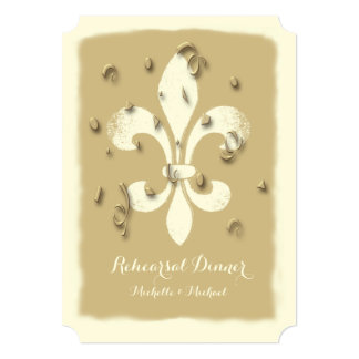 Golden Confetti Fleur de Lis event Invitation