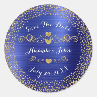 Golden Confetti Glitter Save the Date Cobalt Blue Classic Round Sticker