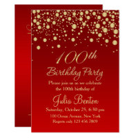 100th birthday invitations announcements zazzle golden confetti on red 100th birthday invitation filmwisefo Choice Image