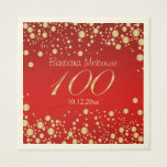 """Golden confetti on red 100th Birthday Party Napkin<br><div class=""""desc"""">Golden confetti on red background 100th Birthday party Paper Napkins. You can remove image &quot;100&quot; and put your text or any year of celebration</div>"""