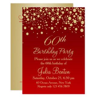 Golden confetti on red 60th Birthday Invitation