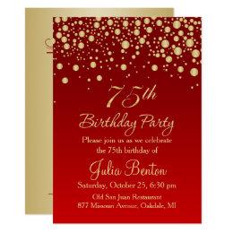 75th birthday invitations announcements zazzle golden confetti on red 75th birthday invitation bookmarktalkfo Images