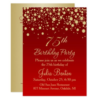 Golden confetti on red 100th Birthday Invitation – 75 Birthday Card