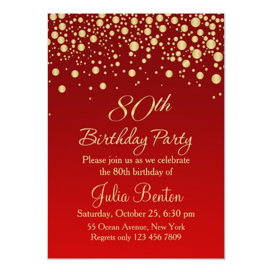 Golden confetti on red 80th birthday invitation zazzle golden confetti on red 80th birthday invitation filmwisefo Image collections