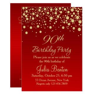 Golden confetti on red 90th Birthday Invitation
