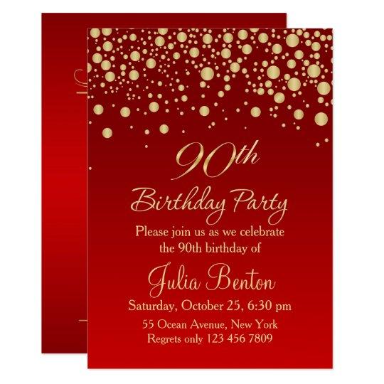 Golden confetti on red 90th Birthday Invitation | Zazzle.com