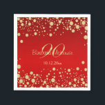 """Golden confetti on red 90th Birthday Party Napkin<br><div class=""""desc"""">Golden confetti on red background 90th Birthday party Paper Napkins. You can remove image &quot;90&quot; and put your text or any year of celebration</div>"""