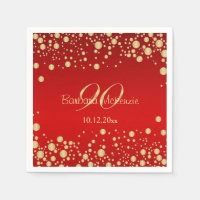 Golden confetti on red 90th Birthday Party Napkin