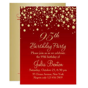 Golden Confetti On Red 95th Birthday Invitation