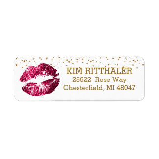 Golden Confetti & Pink Lips- Address Label