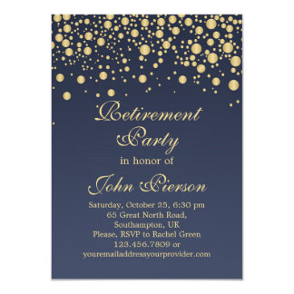 Golden confetti Retirement Party Invitation