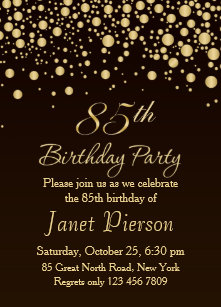 Golden Confettti 85th Birthday Party Invitation