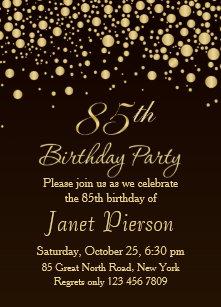 85th birthday invitations zazzle golden confettti 85th birthday party invitation filmwisefo