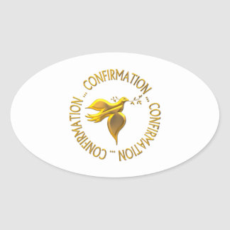 Golden Confirmation and Holy Spirit Oval Sticker