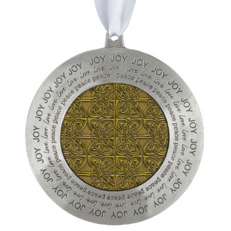 Golden Connected Ovals Celtic Pattern Round Pewter Ornament