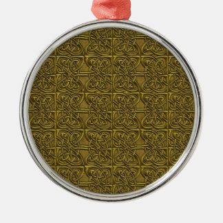 Golden Connected Ovals Celtic Pattern Christmas Tree Ornaments