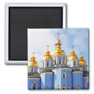 Golden copes of in cathedral in Kiev 2 Inch Square Magnet
