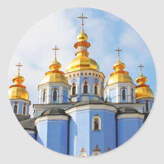 Golden copes of in cathedral in Kiev Classic Round Sticker