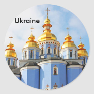 Golden copes of in cathedral in Kiev, Ukraine Classic Round Sticker