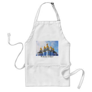 Golden copes of in cathedral in Kiev, Welcome t... Adult Apron