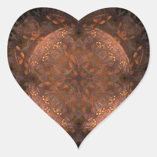 Golden Copper Shimmer Heart Stickers