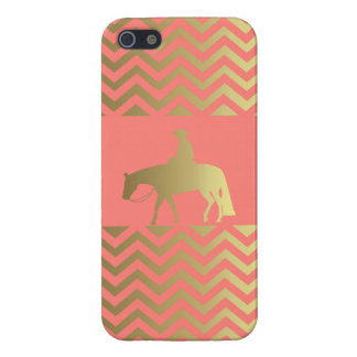 Golden Coral Chevrons Western Pleasure Horse Cover For iPhone 5/5S