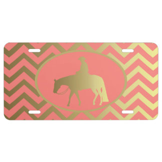 Golden Coral Chevrons Western Pleasure Horse License Plate
