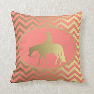 Golden Coral Chevrons Western Pleasure Horse Throw Pillow