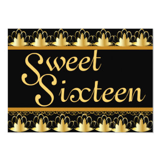 Golden Cowned Lace Sweet Sixteen Invitation-Cust. Card