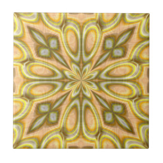 Golden Crazy Daisy Ceramic Tile