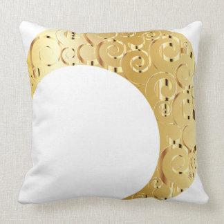 Golden Crescent Moon Throw Pillow