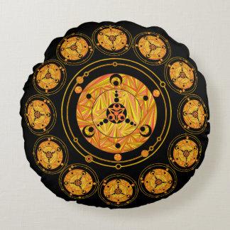 Golden Crop Circle Paranormal UFO Geek Round Pillow