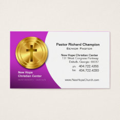 Golden Cross Christian Symbol Minister/pastor Business Card at Zazzle