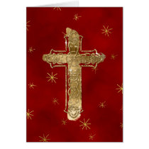 Golden Cross Christmas Greeting Card