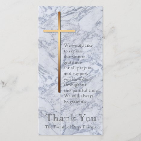 Golden Cross Marble 2 Sympathy Thank You