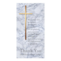 Golden Cross Marble 2 Sympathy Thank You Card