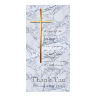 Golden Cross / Marble 2 - Sympathy Thank You Photo Card