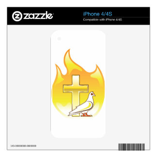 Golden cross on fire with dove near decal for iPhone 4