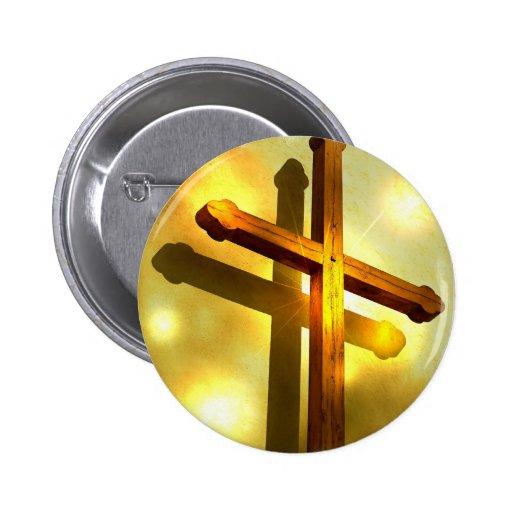 Golden Cross Round Button