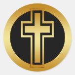 GOLDEN CROSS ROUND STICKERS