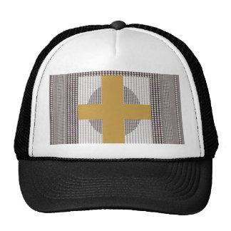 Golden Cross Sparkle White Crystal Beads Gifts Trucker Hat