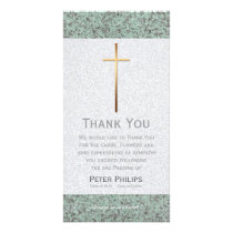 Golden Cross Stone 2 Funeral Thank You Photo Card
