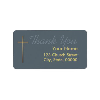 Golden Cross Thank You Label Choose Color 1